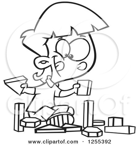 Clipart of a Black and White School Girl Playing with Manipulatives Blocks - Royalty Free Vector Illustration by toonaday
