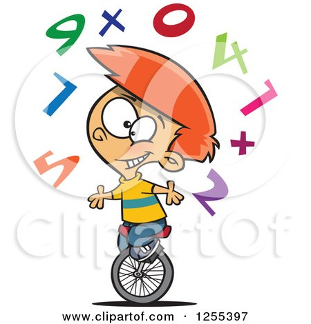 Clipart of a Caucasian School Boy Juggling Numbers on a Unicycle - Royalty Free Vector Illustration by toonaday