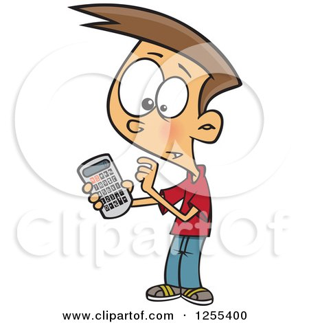 Clipart of a White Boy Using a Calculator - Royalty Free Vector Illustration by toonaday