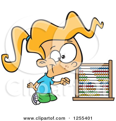 Blond Caucasian School Girl Using an Abacus Posters, Art Prints