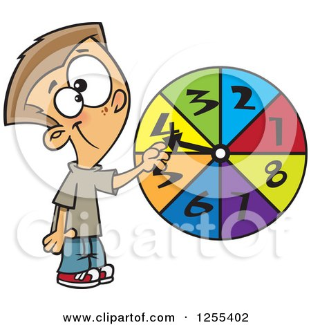 Clipart of a Caucasian School Boy Spinning a Probability Wheel - Royalty Free Vector Illustration by toonaday