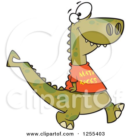Clipart of a Smart Dinosaur Wearing a Math Rocks Shirt - Royalty Free Vector Illustration by toonaday