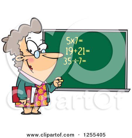 Clipart of a Caucasian Female Math Teacher at a Chalk Board - Royalty Free Vector Illustration by toonaday