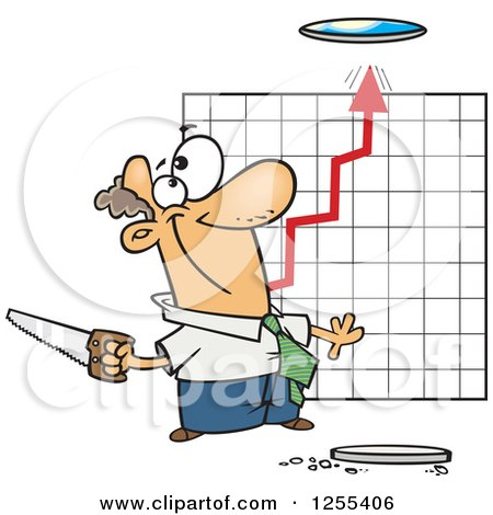 Clipart of a Caucasian Businessman Cutting a Hole in the Ceiling for a Growth Chart - Royalty Free Vector Illustration by toonaday
