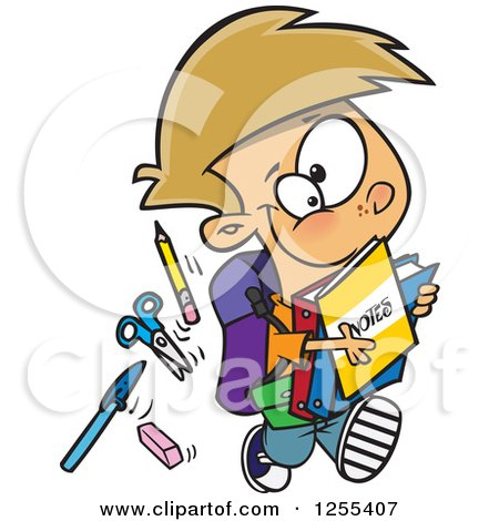 Clipart of a Caucasian School Boy Running with His Accessories - Royalty Free Vector Illustration by toonaday
