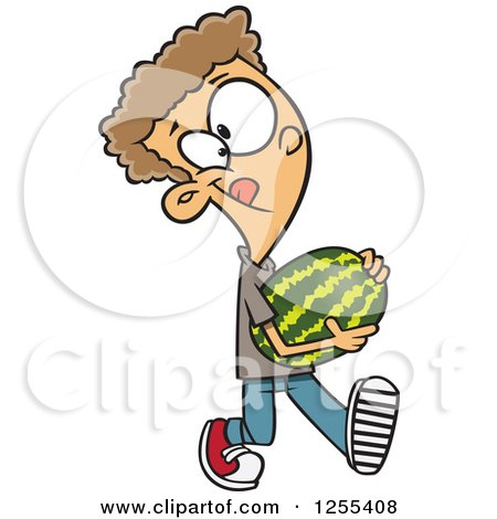 Clipart of a Caucasian Boy Carrying a Watermelon - Royalty Free Vector Illustration by toonaday