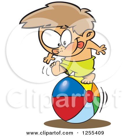 Clipart of a White Boy Rolling on a Beach Ball - Royalty Free Vector Illustration by toonaday