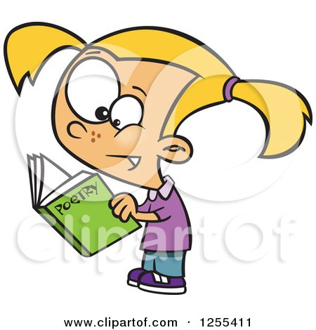 Clipart of a Caucasian School Girl Reading a Poetry Book - Royalty Free Vector Illustration by toonaday