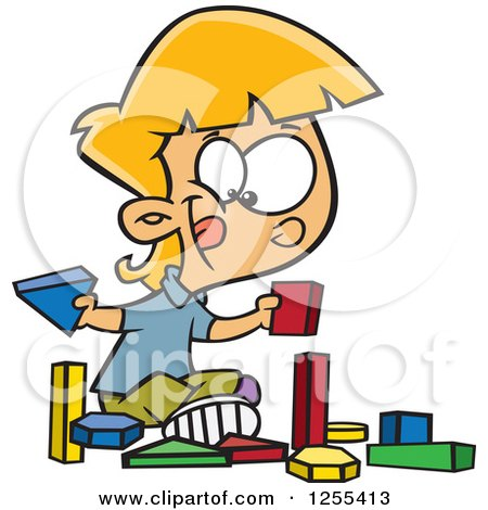 Clipart of a Caucasian School Girl Playing with Manipulatives Blocks - Royalty Free Vector Illustration by toonaday