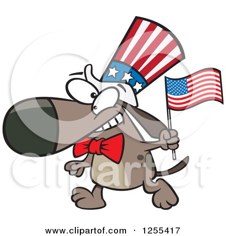 Clipart of a Patriotic American Dog with a Flag - Royalty Free Vector Illustration by toonaday