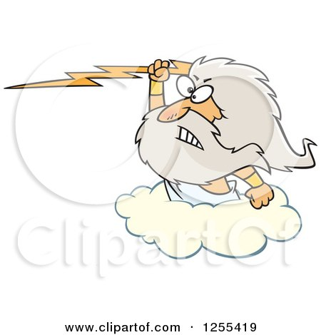 Clipart of Zeus Holding a Lightning Bolt on a Cloud - Royalty Free Vector Illustration by toonaday