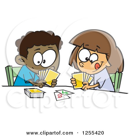 Clipart of a Black Boy and White Girl Playing a Go Fish Card Game - Royalty Free Vector Illustration by toonaday