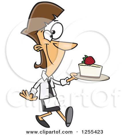 Clipart of a Caucasian Chef Woman Serving a Slice of Cheesecake - Royalty Free Vector Illustration by toonaday