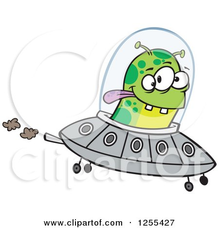 Clipart Of A Green Alien Flying A UFO Royalty Free Vector Illustration