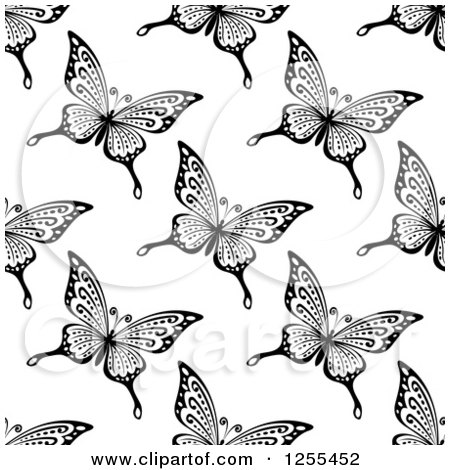 Clipart of a Seamless Black and White Butterfly Background Pattern 8 - Royalty Free Vector Illustration by Vector Tradition SM