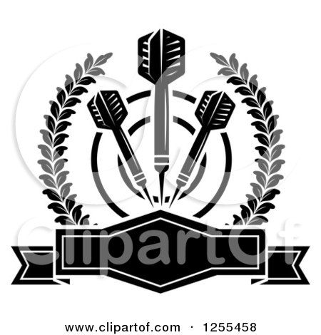 Clipart of Black and White Darts and a Target in a Laurel Wreath with a Frame - Royalty Free Vector Illustration by Vector Tradition SM