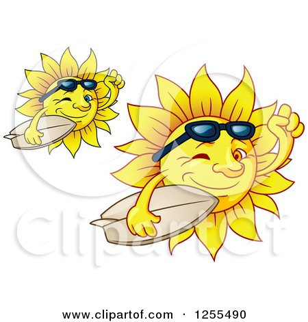 Clipart of Happy Summer Suns Carrying Surfboards - Royalty Free Vector Illustration by Vector Tradition SM