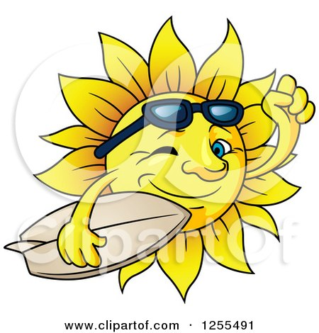 Clipart of a Happy Summer Sun Carrying a Surfboard - Royalty Free Vector Illustration by Vector Tradition SM