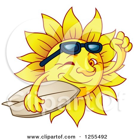 Clipart of a Winking Summer Sun Carrying a Surfboard - Royalty Free Vector Illustration by Vector Tradition SM