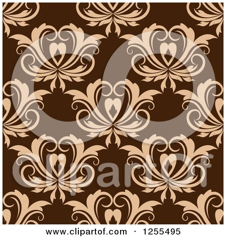 Clipart of a Seamless Brown Floral Heart Background - Royalty Free Vector Illustration by Vector Tradition SM