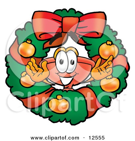 Clipart Picture of a Sink Plunger Mascot Cartoon Character in the Center of a Christmas Wreath by Toons4Biz