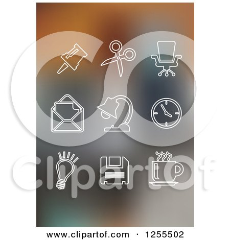 Clipart of White Office Icons on Gradient Blur - Royalty Free Vector Illustration by Vector Tradition SM