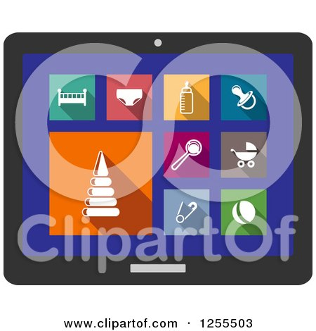 Clipart of a Tablet Screen with Baby Icons - Royalty Free Vector Illustration by Vector Tradition SM