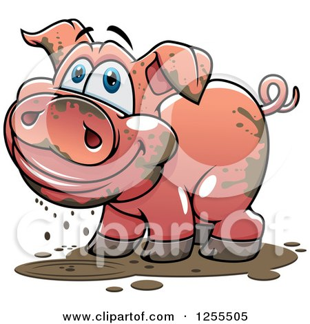 Clipart of a Happy Muddy Pig - Royalty Free Vector Illustration by Vector Tradition SM