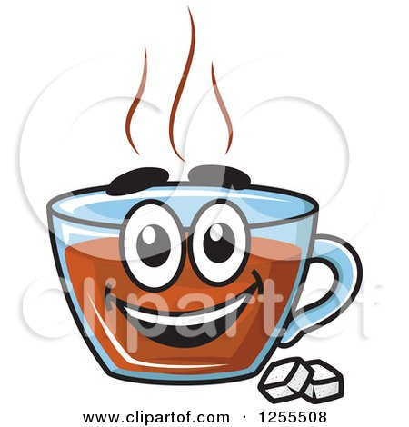 Happy Tea Cup Character with Sugar Cubes Posters, Art Prints