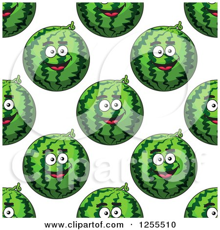Clipart of a Seamless Background Pattern of Happy Watermelons - Royalty Free Vector Illustration by Vector Tradition SM