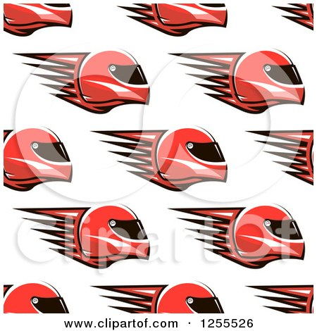 Clipart of a Red Flaming Racing Helmet Pattern - Royalty Free Vector Illustration by Vector Tradition SM