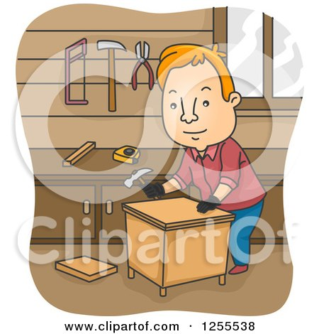 Red Haired White Man Building a Table in a Wood Shop Posters, Art Prints