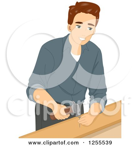 Brunette White Man Hammering a Nail into Wood Posters, Art Prints