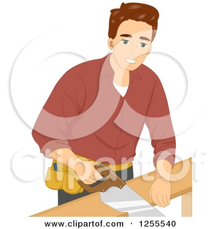 Brunette White Man Using a Hand Saw Posters, Art Prints