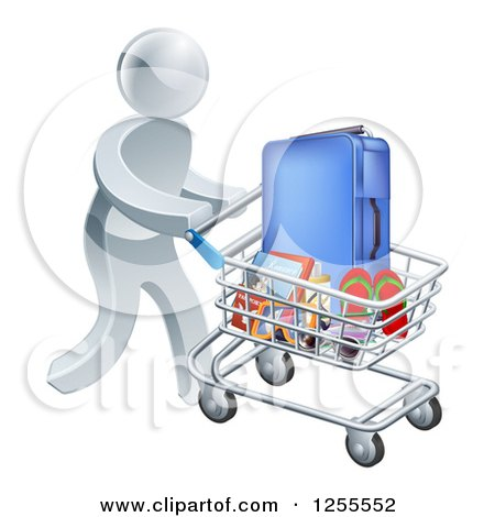 Clipart of a 3d Silver Man Pushing Travel Accessories in a Shopping Cart - Royalty Free Vector Illustration by AtStockIllustration