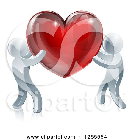 Clipart of Two 3d Silver People Carrying a Red Heart - Royalty Free Vector Illustration by AtStockIllustration