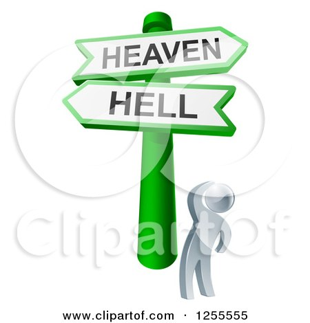 Clipart of S 3d Silver Man Looking up at Heaven or Hell Arrow Signs - Royalty Free Vector Illustration by AtStockIllustration
