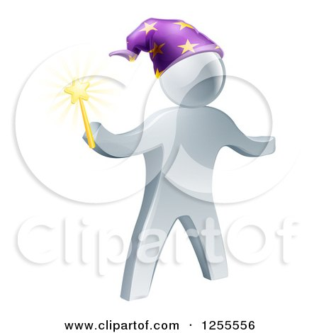 Clipart of a 3d Silver Wizard Holding a Star Wand - Royalty Free Vector Illustration by AtStockIllustration