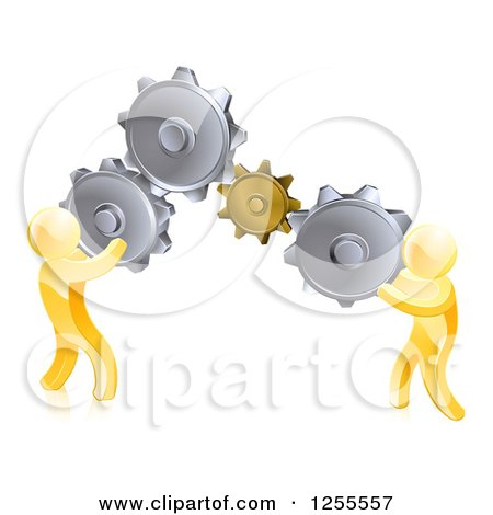 Clipart of 3d Gold Men Connecting Two Giant Gear Cogs - Royalty Free Vector Illustration by AtStockIllustration