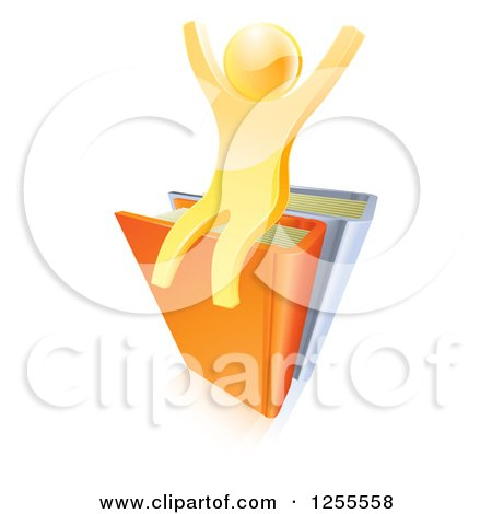 Clipart of a 3d Gold Guy Cheering on Books - Royalty Free Vector Illustration by AtStockIllustration