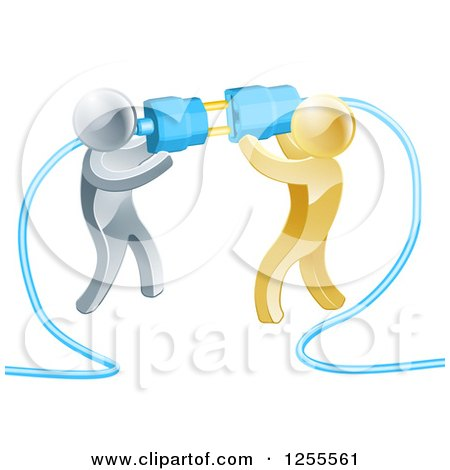 Clipart of Team of 3d Silver and Gold Men Connecting Electrical Plugs - Royalty Free Vector Illustration by AtStockIllustration