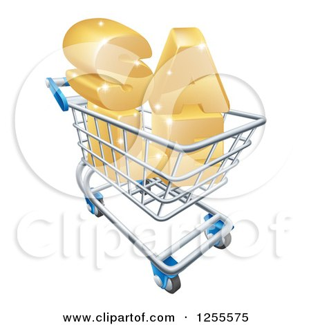 Clipart of a 3d Shopping Cart with Golden SALE Inside - Royalty Free Vector Illustration by AtStockIllustration