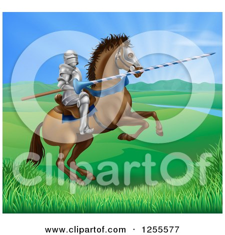 Clipart of a 3d Knight Holding a Jousting Lance on a Rearing Horse in a Valley - Royalty Free Vector Illustration by AtStockIllustration