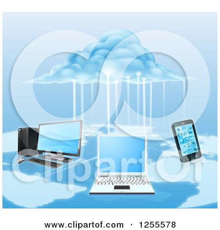 Clipart of a 3d Cloud Electrifying a Network of Computers and a Cell Phone over a Map - Royalty Free Vector Illustration by AtStockIllustration