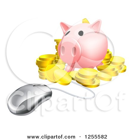 Clipart of a 3d Computer Mouse Wired to a Piggy Bank with Gold Coins - Royalty Free Vector Illustration by AtStockIllustration