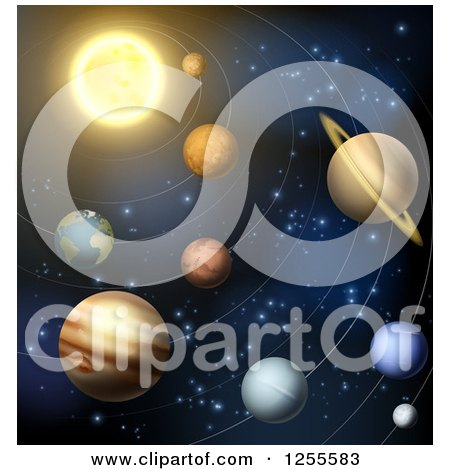 Clipart of the Solar System with Orbit Rings - Royalty Free Vector Illustration by AtStockIllustration