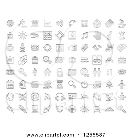 Clipart of Stamp Styled Media and Website Icons - Royalty Free Vector Illustration by AtStockIllustration