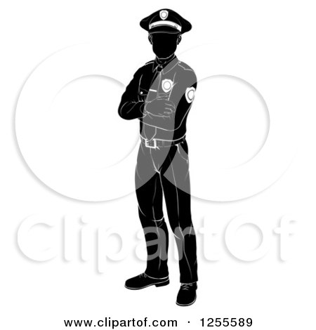 Clipart of a Black and White Silhouetted Police Man Standing with Folded Arms - Royalty Free Vector Illustration by AtStockIllustration