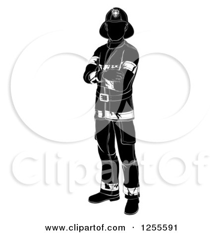 Clipart of a Black and White Silhouetted Fireman Standing with Folded Arms - Royalty Free Vector Illustration by AtStockIllustration