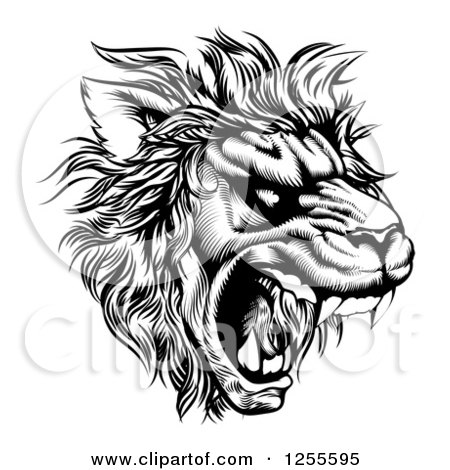 Clipart of a Roaring Lion Mascot Head in Black and White - Royalty Free Vector Illustration by AtStockIllustration